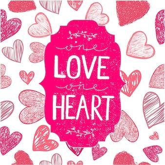 벡터 로맨틱 카드, 포스터, 표지입니다. 마음으로 손으로 그린 글자. 한 사랑 한 마음. 발렌타인 데이, 결혼식