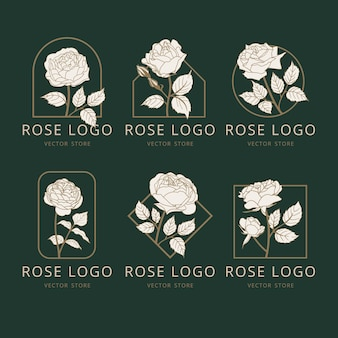 Vector rose flowers logo design nature logo collection in linear style monogram template concept