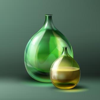 濃い緑色の背景に分離された緑色とビンテージスタイルのベクトルラウンドボトル