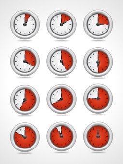 Vector round clock icons set isolated on white background
