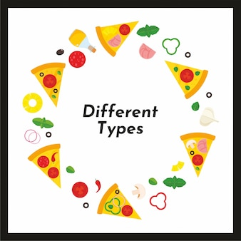 Вектор круглая рамка пиццы и ингредиентов.