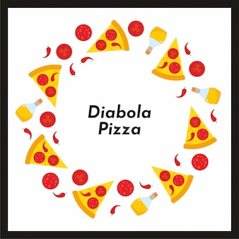 Vector round frame of pizza and ingredients.