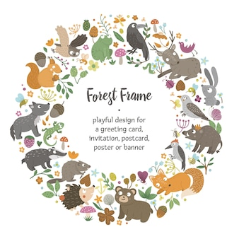 Vector round frame with animals and forest elements. natural themed banner. cute funny woodland card template.