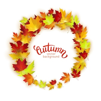Vector round frame with colorful autumn leaves