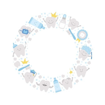 Вектор круглая рамка с милыми зубами. шаблон венок карты с каваи смешно улыбающаяся зубная щетка, ребенок, коренной зуб, зубная паста, зуб. забавная картина для ухода за зубами для детей в кругу