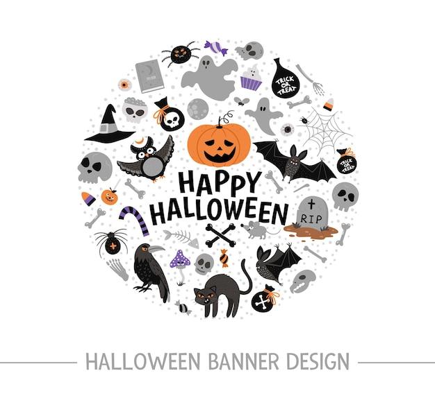 Вектор круглая рамка с элементами хэллоуина. традиционная вечеринка самайн клипарт. страшный дизайн баннеров, плакатов, приглашений. симпатичный осенний праздничный шаблон карты в форме круга.