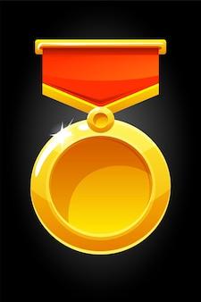 Вектор круглой золотой медали за игру. пустой шаблон медали на ленте для награды.