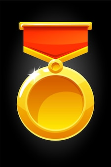 Vector round gold medal for the game. blank medal template on ribbon for the award.
