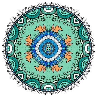 Vector round mandala in childish style.