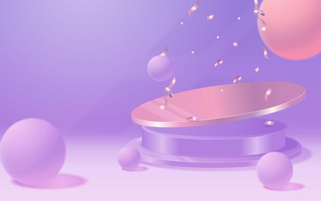 ベクトルラウンド表彰台、台座またはプラットフォーム、化粧品のプレゼンテーションの背景。 3d表彰台。広告の場所。パステルカラーの空白の製品スタンドの背景