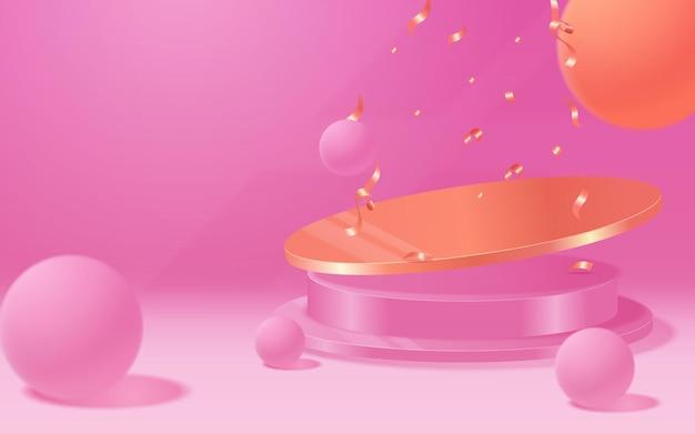 Вектор круглый подиум, пьедестал или платформа, фон для презентации косметической продукции. 3-й подиум. рекламное место. пустой фон подставки для продуктов в пастельных тонах