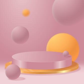 ベクトルの丸い表彰台、台座またはプラットフォーム、化粧品のプレゼンテーションの背景。 3d表彰台。広告の場所。パステルカラーの空白の製品スタンドの背景