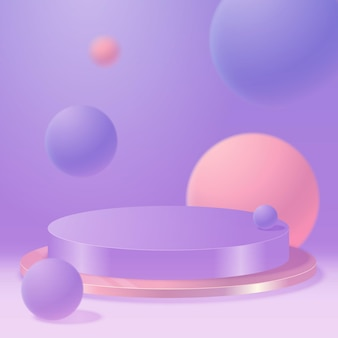 Вектор круглый подиум, пьедестал или платформа, фон для презентации косметической продукции