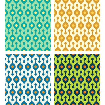 Vector rounded abstract seamless patterns set in various colors