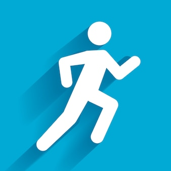 Vector running illustration, uomo bianco su blu