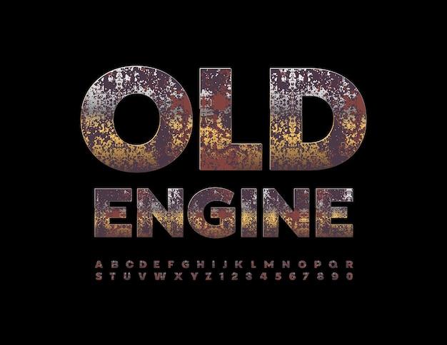 벡터 녹슨 엠 블 럼 오래 된 엔진 지저분한 금속 알파벳 문자와 숫자 설정 더러운 세 글꼴