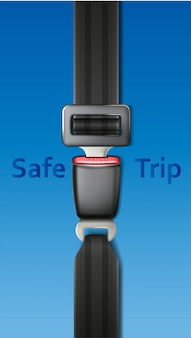Vector safety car belt on blue backgroun