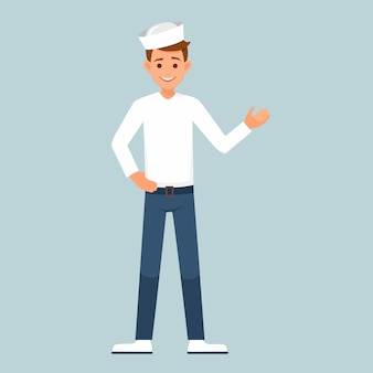 Vector sailor character in the form of making welcome hand gesture