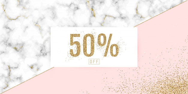 Vector sale banner with golden glitter and marble texture.