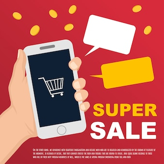 Vector sale banner with hand and smartphone