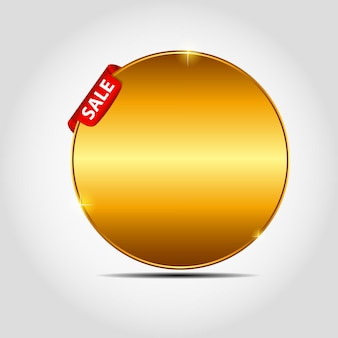 Vector sale label with red ribbon.