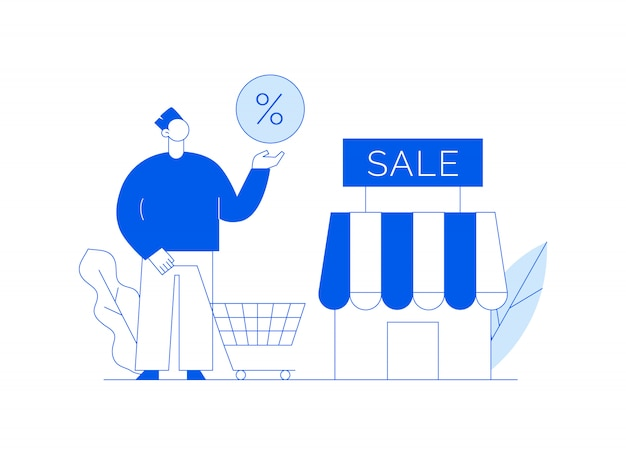 Vector sale online shopping modern illustration with big man and shop