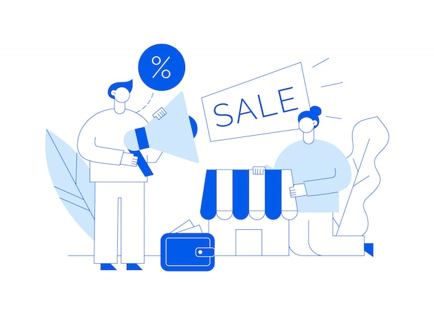 Vector sale online shopping modern illustration with big man and woman, shop, wallet