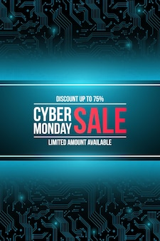 Vector sale technology flyer for cyber monday
