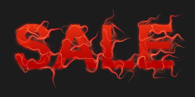 Vector sale text background with red fire flames