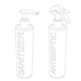 Вектор дезинфицирующее средство, антисептический гель и распылители - контурная иллюстрация