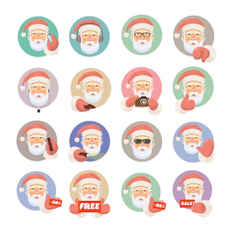 Vector santa avatar set.