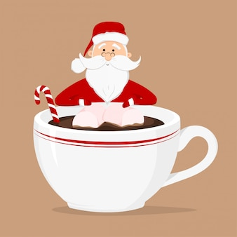 Vector santa claus and cup of coffee with marshmallow and candy cane isolated