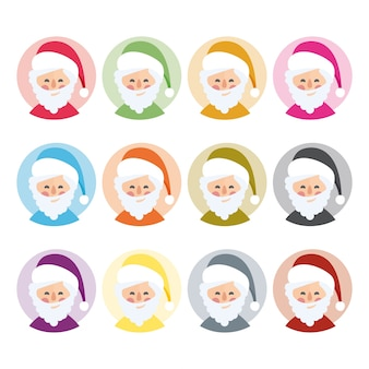 Vector santa claus in different colors