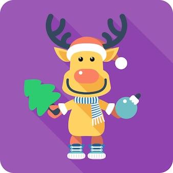 Vector santas reindeer icon flat design with christmas tree and christmas ball