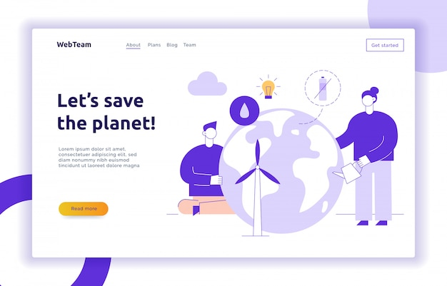 Vector save the planet web page banner design template