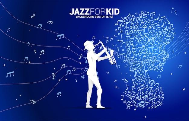 Вектор саксофонист и ребенок от танцевальной ноты формы потока музыки. концепция фоновой музыки для малышей и детей.