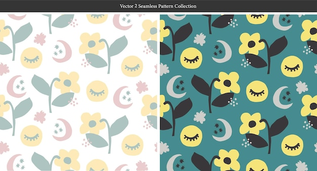 Vector scandinavia cute and simple flower and the moon illustration seamless repeat pattern