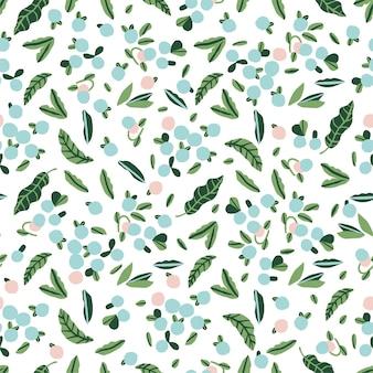ベクトルスカンジナビアアートかわいいブルーベリーと葉のイラストモチーフシームレスな繰り返しパターン