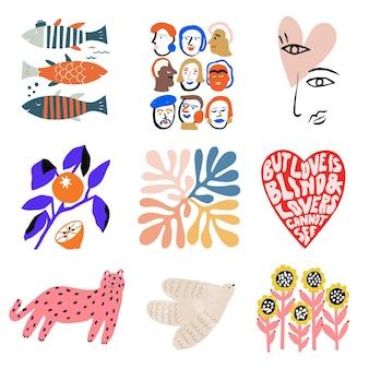 벡터 스칸디나비아 아이콘 그림 컬렉션 집합 그래픽 리소스