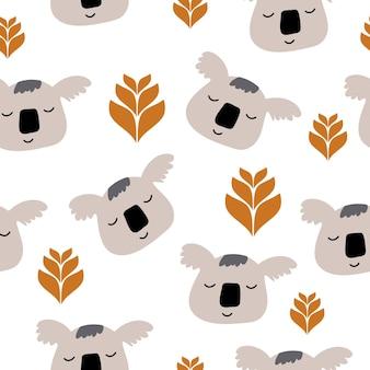 Vector scandinavian panda bears and tropical leaves seamless pattern illustration for kids.