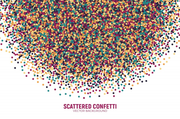 Vector scattered colorful motley confetti background. varicolored slapstick paper round particles.