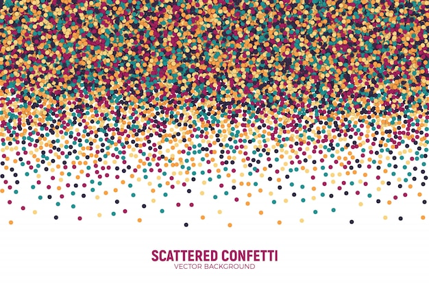 Vector scattered colorful motley confetti background.