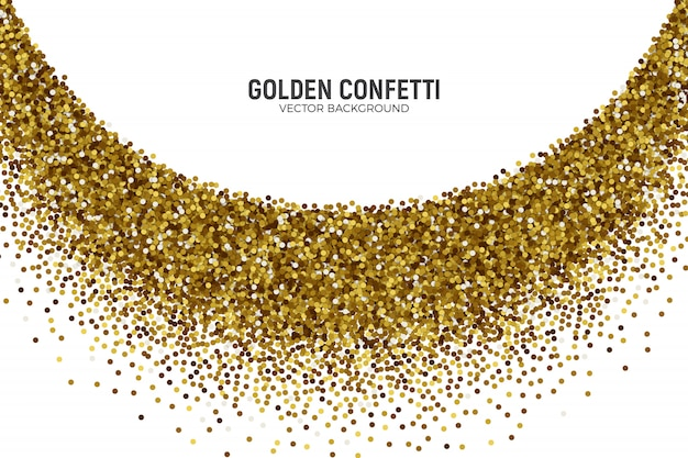 Vector scattered golden confetti in abstract bend shape background
