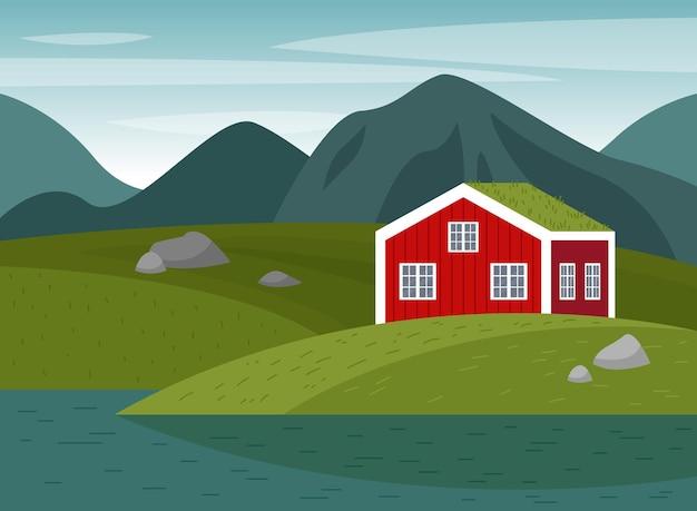 ノルウェーの風景とベクトルシーン山の牧草地水辺の赤い家