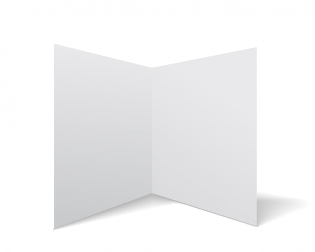 Vector school note book paper with realistic shadow. white blank page isolated on background. mock up template.
