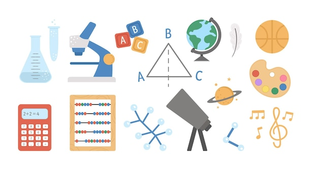 Vector school subject icons. classroom signs collection. back to school clipart