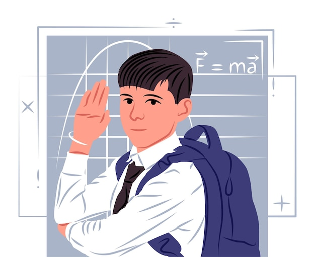 Vector schoolboy in shadow of sharp lines style
