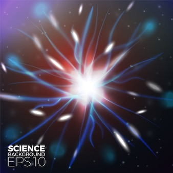 Vector scientific background with bright lights of electrons