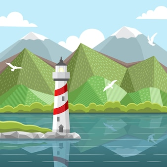 Vector sea landscape with lighthouse
