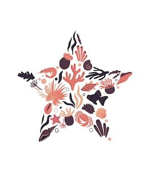 열대어, 새우, 산호, 해초, 조개 모양의 벡터 바다 생활 포스터 별. 만화 그림